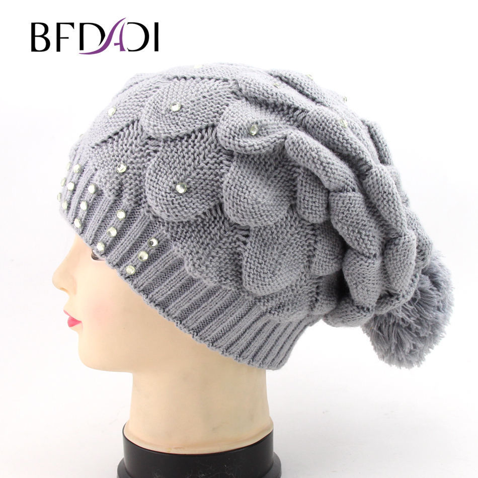 033bb950560 BFDADI Knitting Beanie Geometric Hollow Patterned 2018 Winter Hat Skullies  Beanies Fur Ball Cap Winter Hat For Women