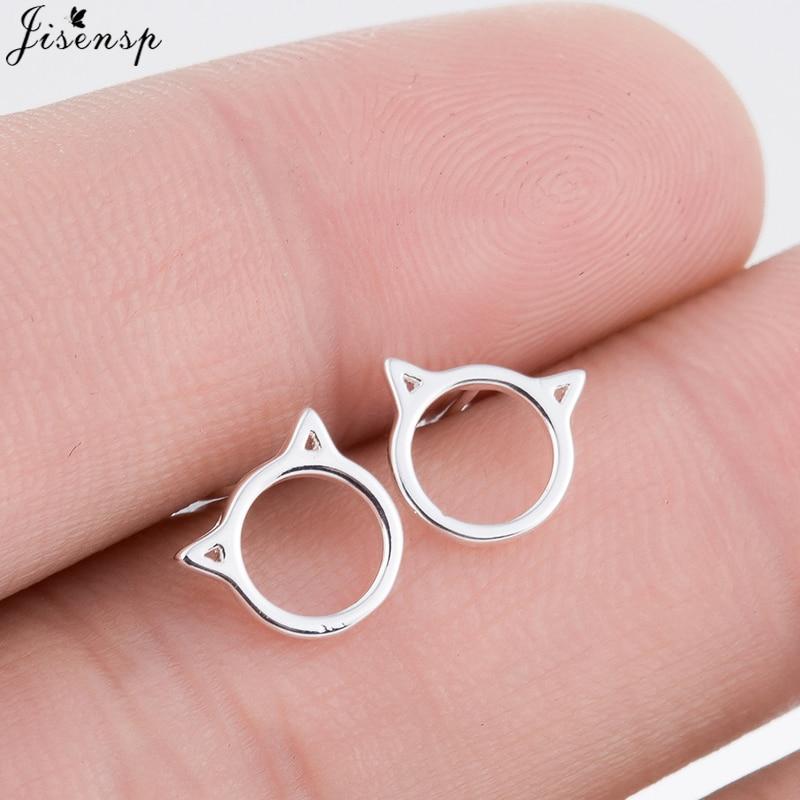 Jisensp Fashion Earrings Jewelry Trendy Rose Gold Color Cute Cat Earrings for Women Birthday Gift Vivid Animal boucle doreille