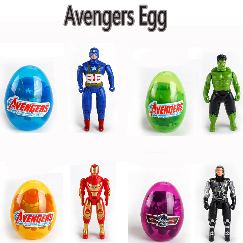 Hot Movie The Avengers Hero Egg Anime Figure Toy Cartoon Captain America Hulk Iron Man Thor Display Model Toys Birthday Gift
