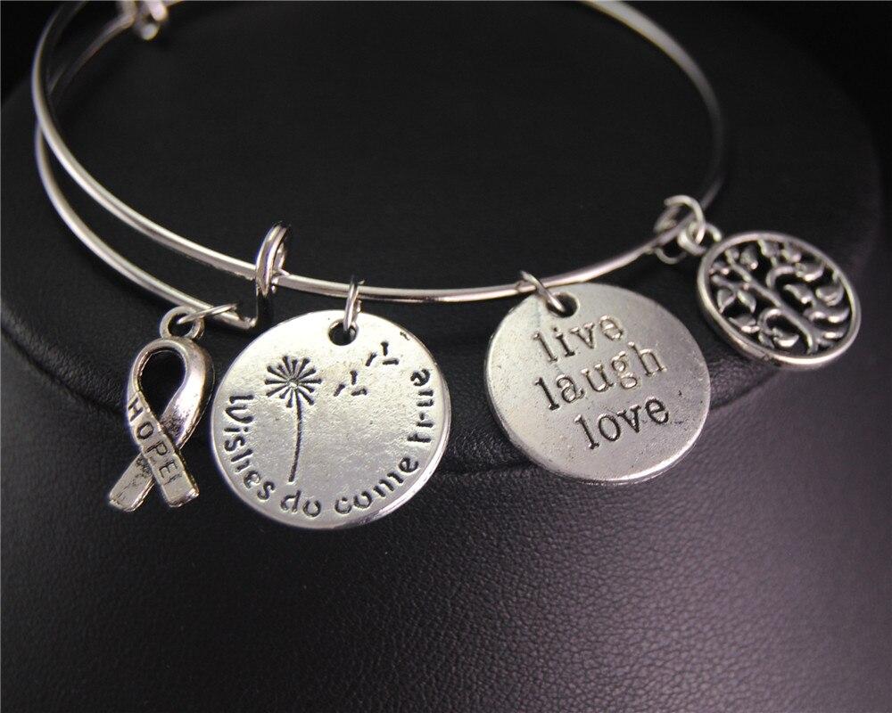 1pcs Tibetan Silver Hope Ribbons Round <font><b>Live</b></font> Laugh Love Tree Expandable Adjustable <font><b>Wire</b></font> Wrapped Bangle Bracelet <font><b>Jewelry</b></font> Gift E616