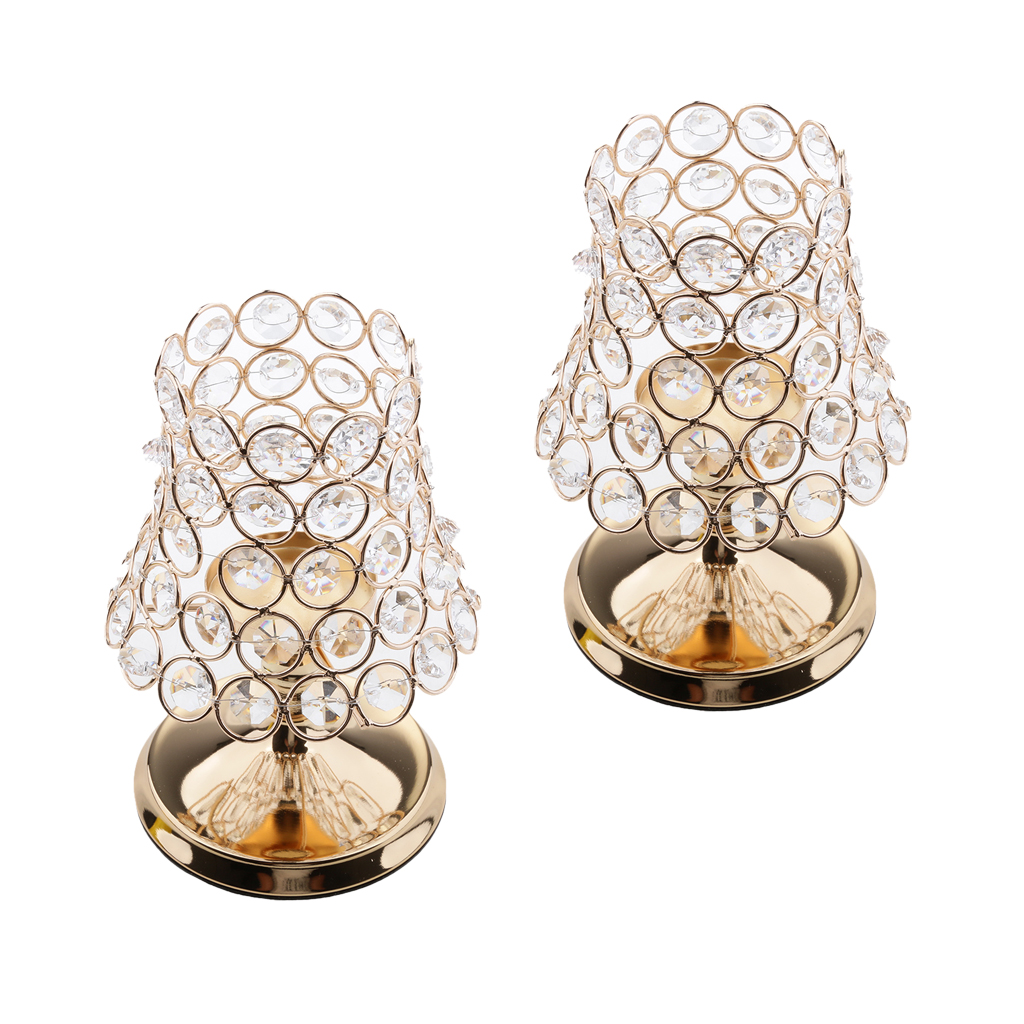 2 Pieces Romantic Crystal Votive Tealight Candle Holder Candlestick for Candlelight Dinner Decor image