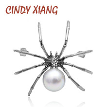 CINDY XIANG New Rhinestone Spider Brooches For Women Black Color Insect Pin Pearl Jewelry Summer Fashion Accessories Cool Brooch