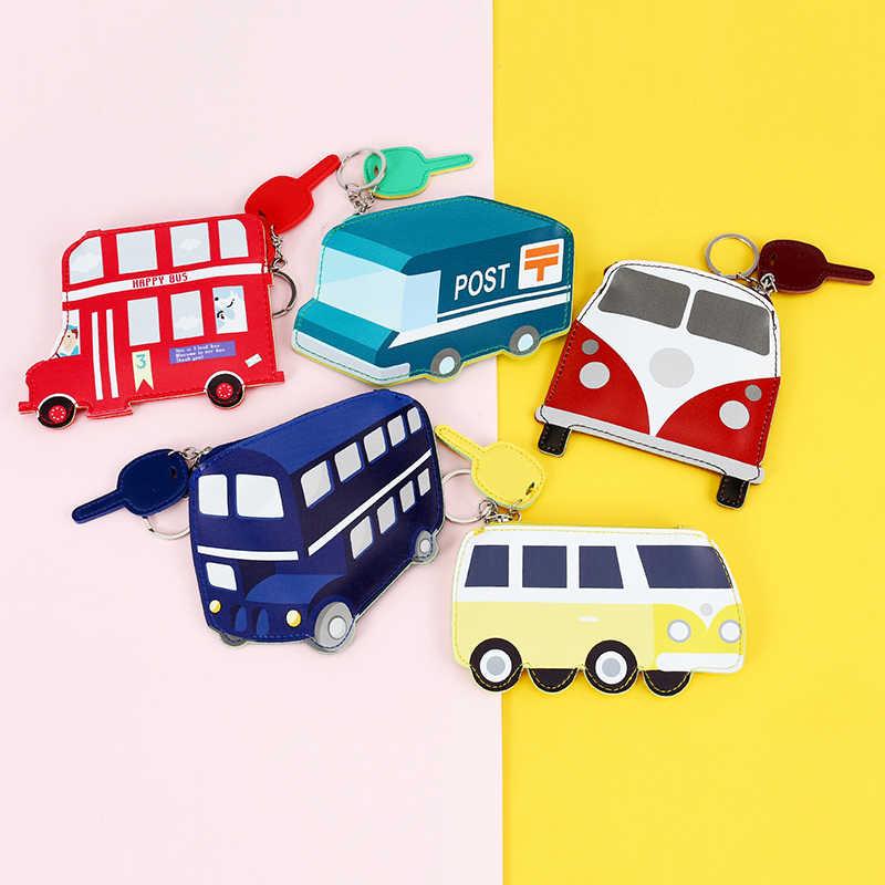 Crianças Criativo ônibus mini coin purse para childern PU mulheres pequena carteira de Couro titulares de cartão de banco bolsa de fone de ouvido dos desenhos animados meninas presente
