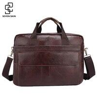 Famous Brand Genuine Cowhide Leather Mens Business Briefcase Laptop Bags Men S Travel Bag Portfolio Men