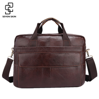 Famous Brand Genuine Cowhide Leather Mens Business Briefcase Laptop Bags Men S Travel Bag Portfolio Men