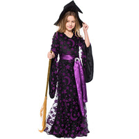 Cosplay Children girls Purple Star Moon Print Witch Dress Witch Devil Princess Queen Uniform Full Halloween Carnival Fancy Dress