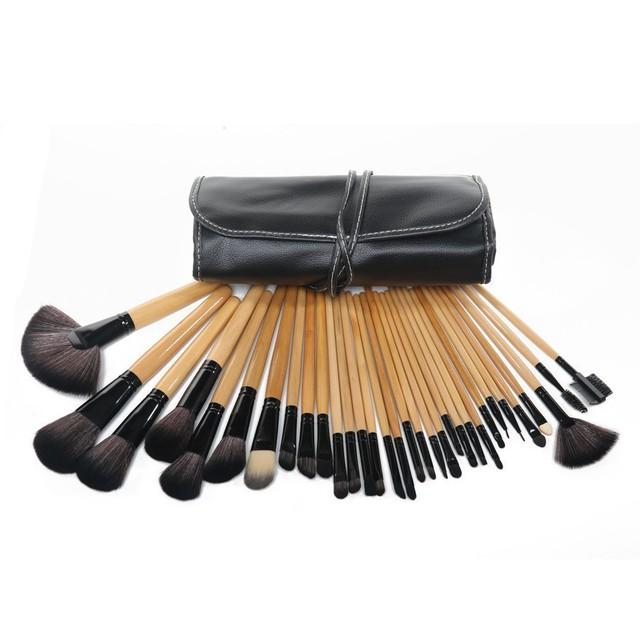 Atacado Professional 32 pcs Makeup Brushes cosméticos Set Kit / maquiagem ferramentas com capa de couro, Gota frete grátis