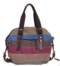 цена на New fashionable women's Canvas Handbag Korean version single shoulder lady bag stitching collision color oblique Bag
