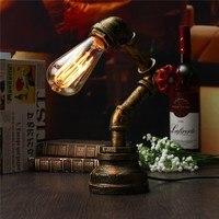 أنابيب المياه خمر الجدول ضوء الصناعي الرجعية البرونزية مكتب مصباح طاولة مصباح e27 110-240 فولت