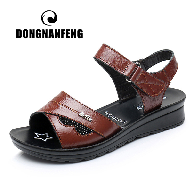 DONGNANFENG Women Mother Old Female Sandals Shoes Cow Genuine Leather Casual PU Hook Loop Summer Beach Cool Size 35-41 HD-B01