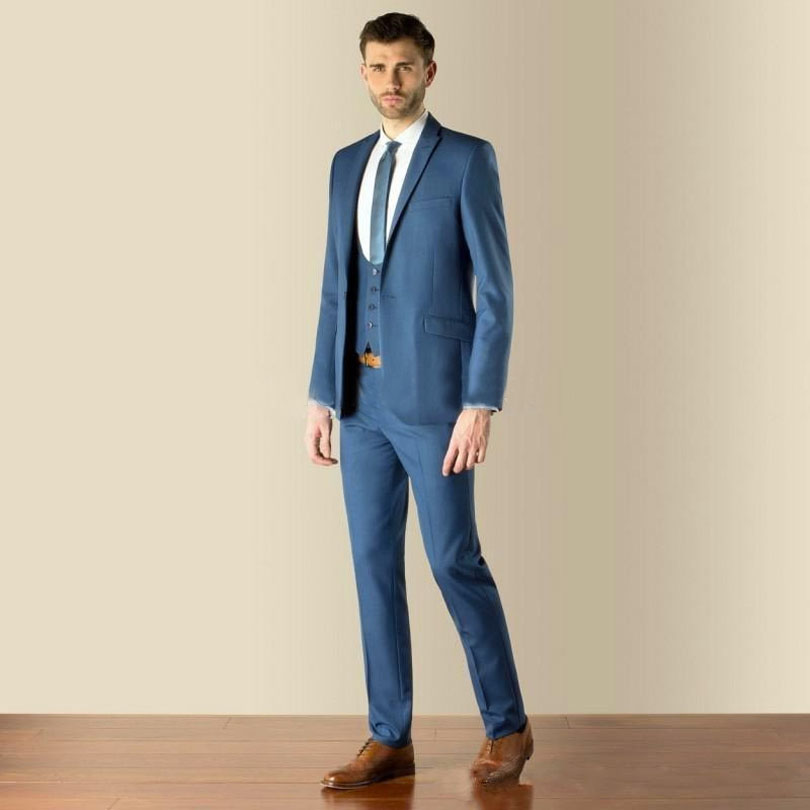 Mejor Boda chaqueta Pantalones 2019 Picture Pico De Azul Solapa Corbata Hombres  Padrino Estilo Hombre Corte As Novio Same Slim ... a5e3426739a