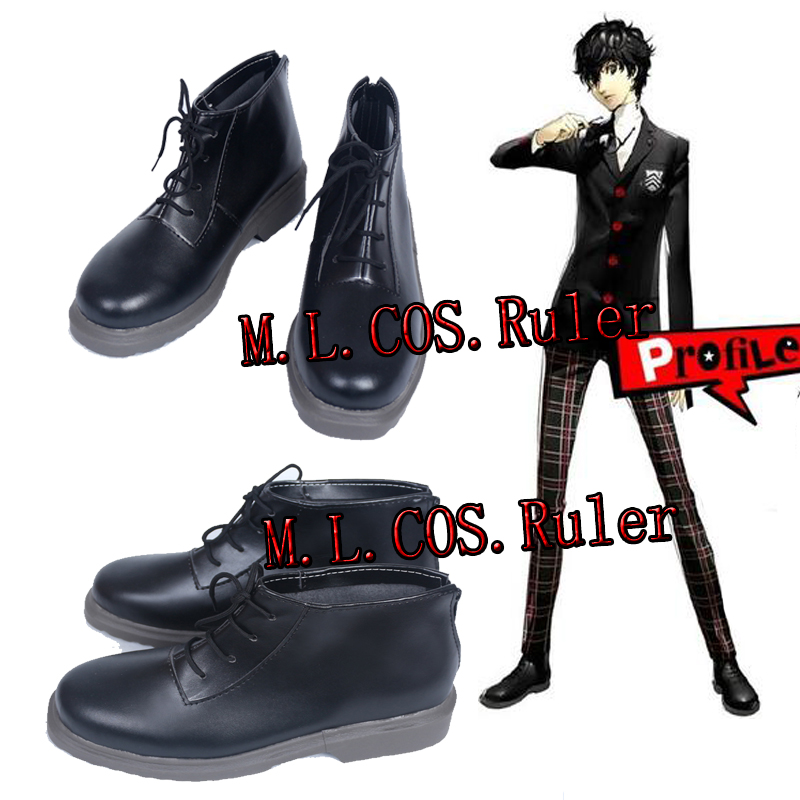 Anime Game Cos Persona 5 PA5 Joker Black Cosplay Shoes Custom Made Black Shoes For Halloween Free Shipping