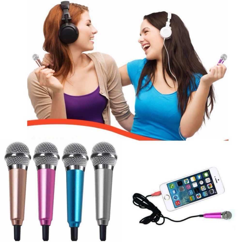 Ücretsiz Kargo Mini Mikrofon Taşınabilir Mikrofon Stereo Karaoke Ses Kayıt 3.5mm Fiş IPhone Android Akıllı Telefon Notebook için