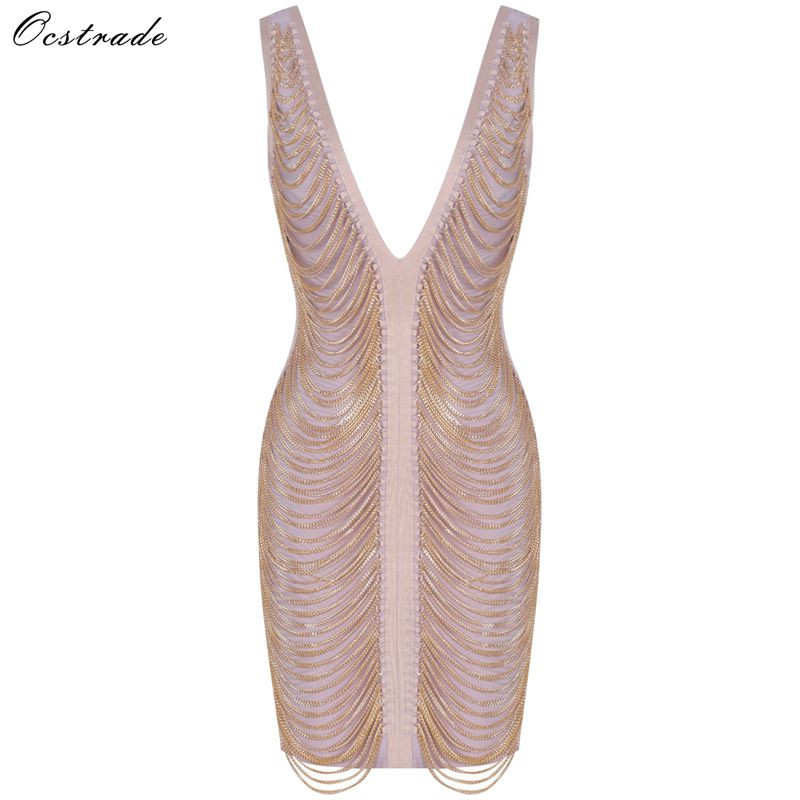 Ocstrade Christmas Party Bandage Dress 2019 New Arrivals Backless Sexy Bandage Dress Women Gold Chain Drape Bandage Dress-in Dresses from Women's Clothing    1