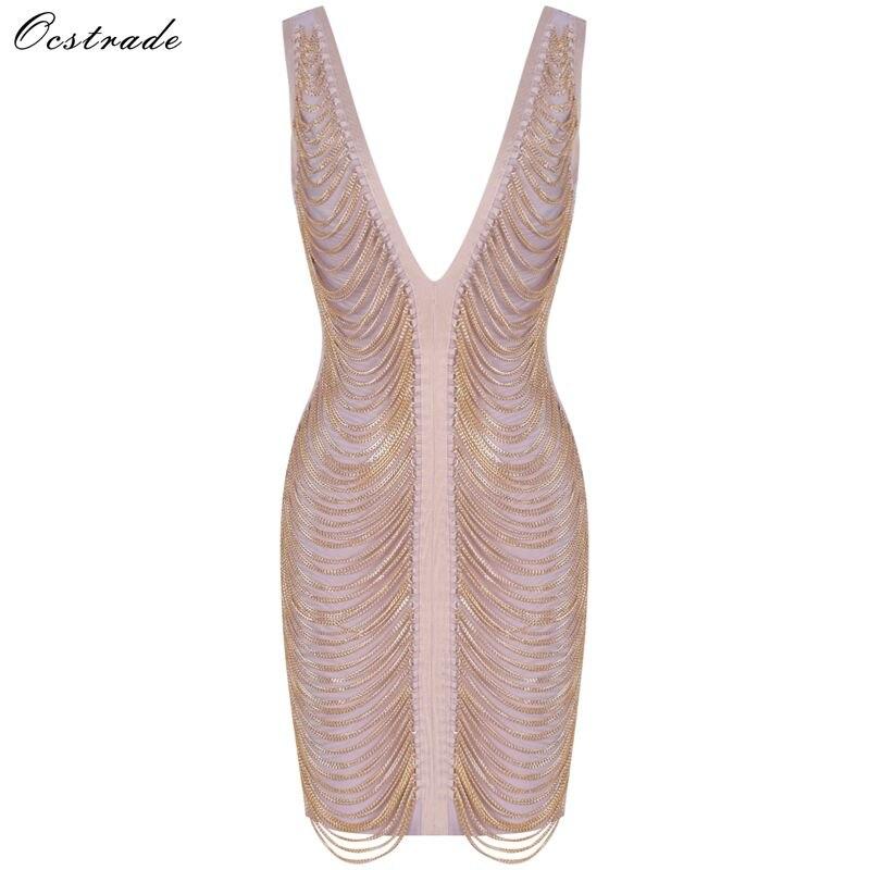 Robe de Bandage de fête de noël Ocstrade 2019 nouveaux arrivants robe de Bandage Sexy dos nu femmes chaîne en or drapé robe de Bandage