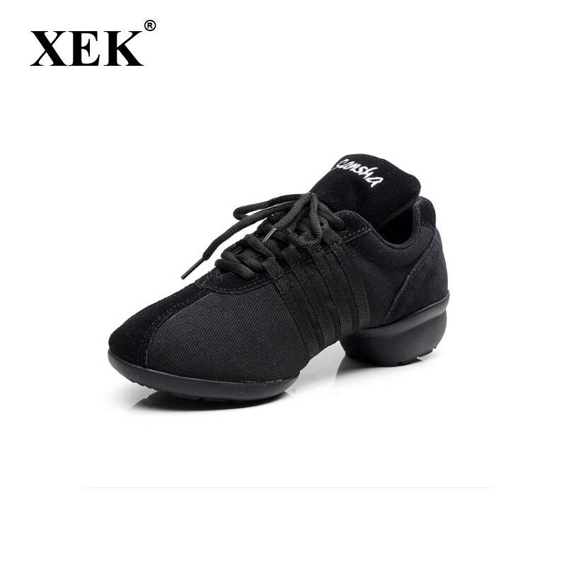 XEK homens canvans Tênis de dança sapatos de Jazz de couro com especialização em Pop esportes sapatos de dança de Quatro cores Sapatos Professor GSS36