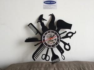 Image 4 - Hairdresser Barber Shop Salon Vinyl Record Wall Clock Art Home Decor Women Gift Decorative Vinyl Record Wall Clock Christmas