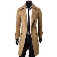 Индивидуальный заказ коричневый Тренч Для мужчин, двубортный зимнее пальто Для мужчин длинное пальто, кашемир Шерстяное пальто Зимние паль