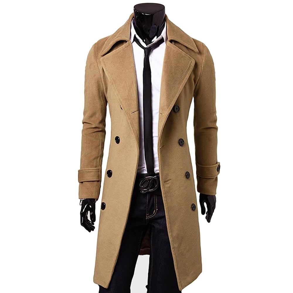 US $179.5  Custom Made Brown Trenchcoat Mannen, Double Breasted Winter Jas Mannen Lange Jas, kasjmier Wollen Jas Winter Jassen Voor Mannen in Wol en