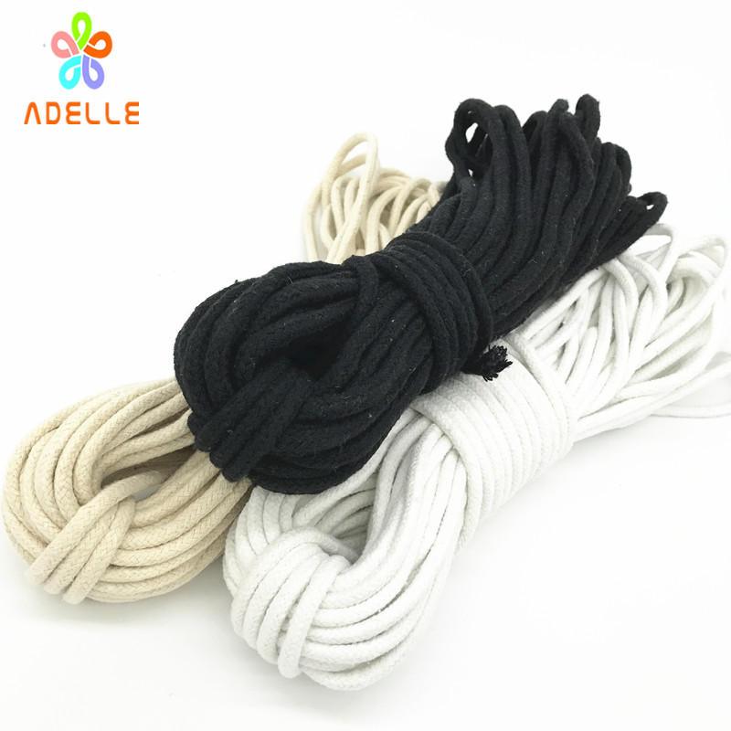 White Black Natural color 3 4 5 6mm braided cotton rope with strong core cotton cord handle pulley bondage free shipping 90m in Cords from Home Garden