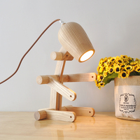 wooden dog lamp simple bedroom bedside lamps study lamp folding wooden logs lighting YA72610