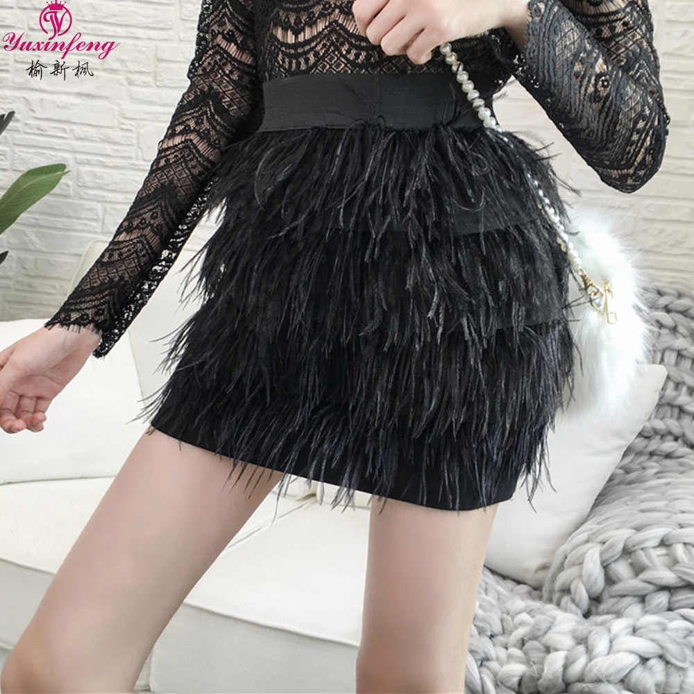 3aa289e895 Yuxinfeng Fashion Ostrich Feather Skirt Women Sexy Elastic Waist Suede  Skirts Black White Pink Tassel Short