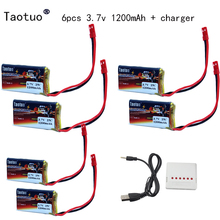 6Pcs Taotuo Lipo Battery 3.7v 1200mAh + Charger For Syma S006G Mjx T64 T04 T05 F28 F29 T56 T57 RC Helicopter RC Boat HQ 859B