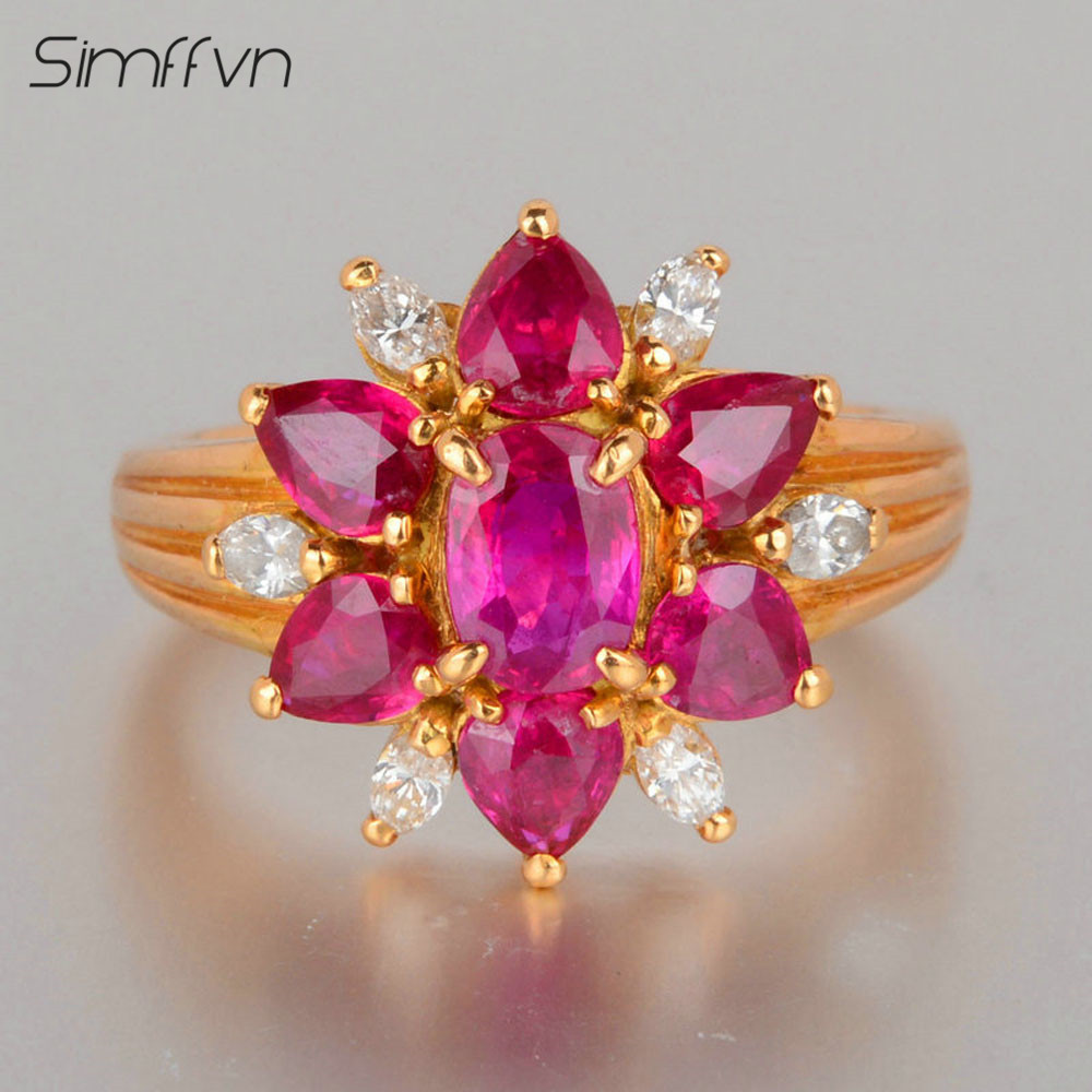 Romantic Style 0.75Ct Ruby Gemstone Ring With Client Stated Natural Diamond Stamped By 18K Yellow Gold Engagement Ring