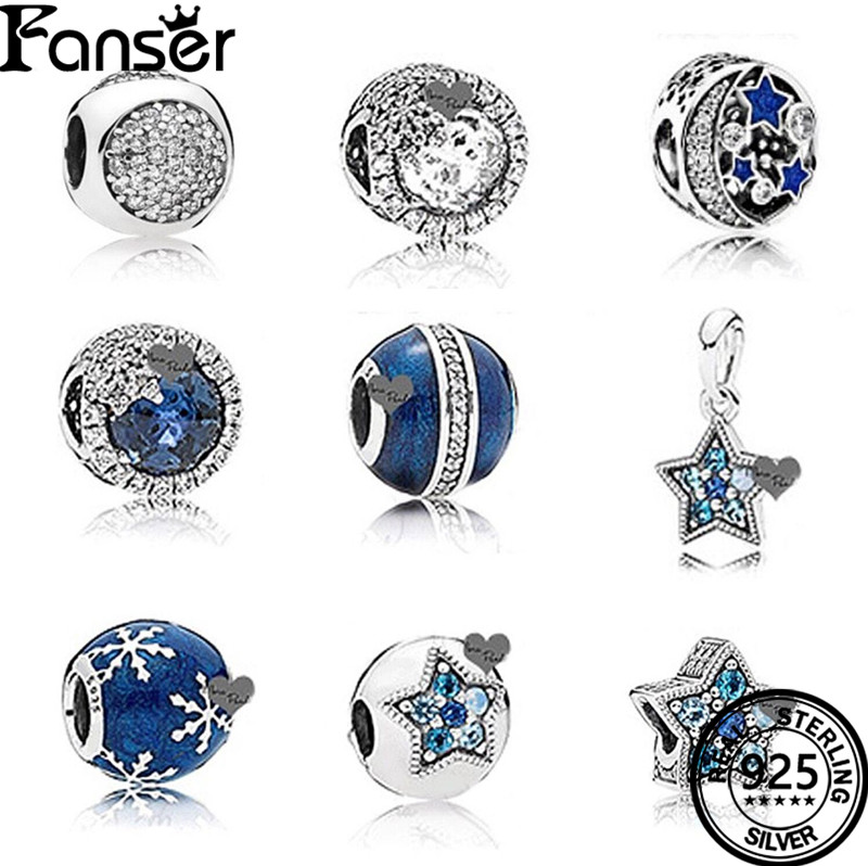 FANSER Winter Blue Enamel Snowflake Geniune 100% 925 Sterling Silver Pandor chain Bead Blue moon Fit Bracelet DIY Jewelry