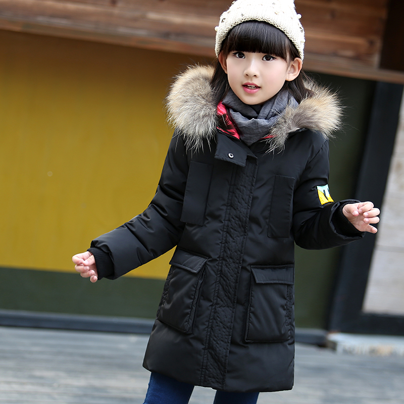 3-11 Y Children Girls Winter Jacket Long Design Thicken Warm Outerwear Coat Hooded Down Jacket for Girl Kids Snow Wear 2017 new fashion girls winter warm coat kids jacket hooded snow wear cotton down outerwear girl solid color winter clothes