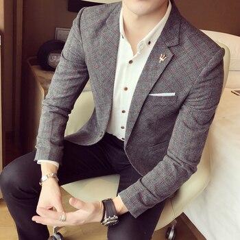 Casual Slim-Fit Business Mens Suit Jacket