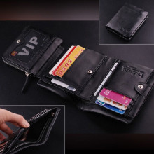 NOENNAME_NULL Stock Mens Wallet Quality Leather Boutique Trifold Zip Coin Purse Card Holder