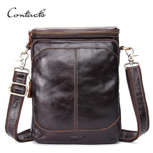 CONTACT'S Genuine Leather Men Bags Business Male Messenger Bag Luxury Designer High Quality Famous Brand Crossbody Shoulder Bag