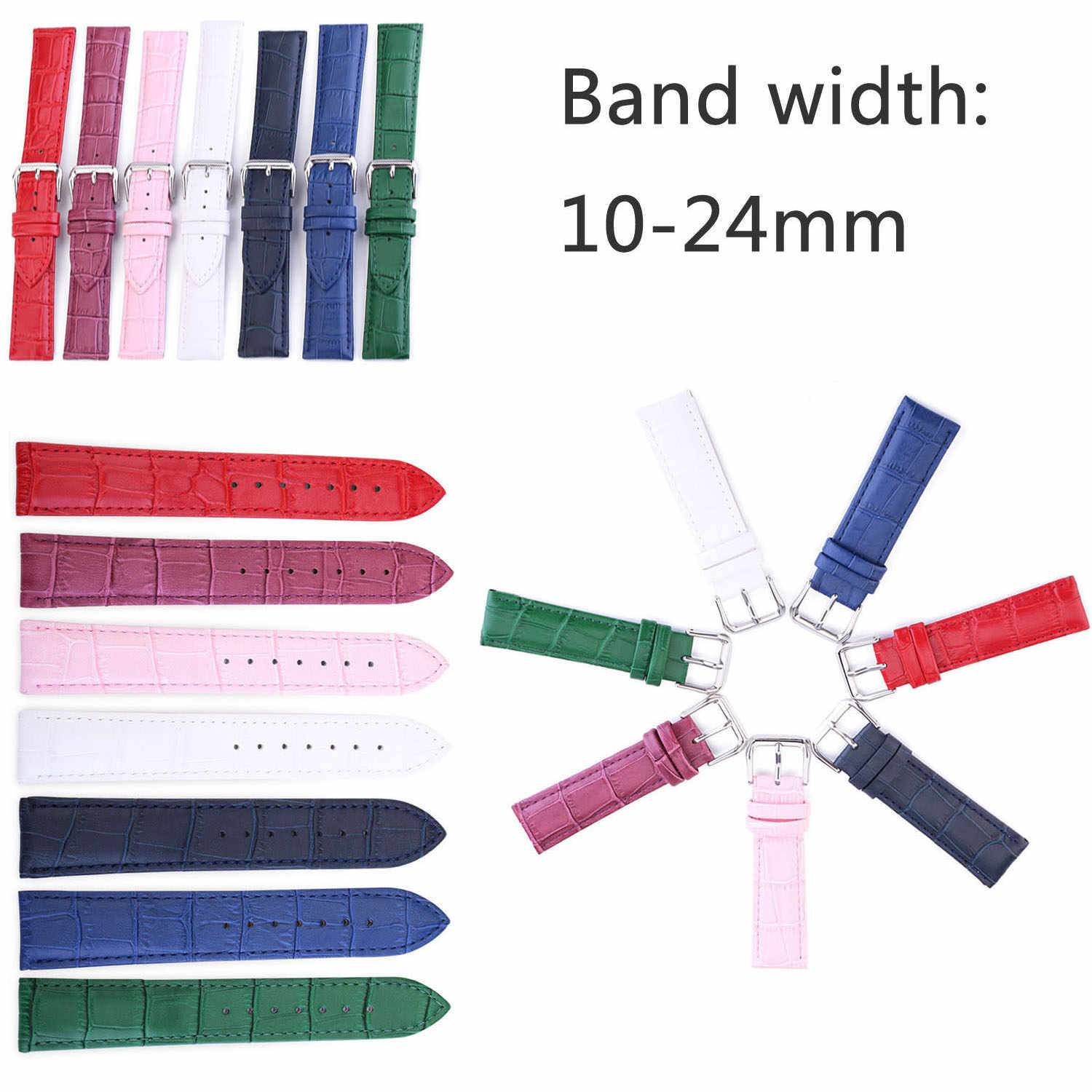 Crocodile Pattern Genuine Cow Leather Strap Watch Band 10mm 12mm 13mm 14mm 15mm 16mm 17mm 18mm 19mm 20mm 22mm 24mm Watchband