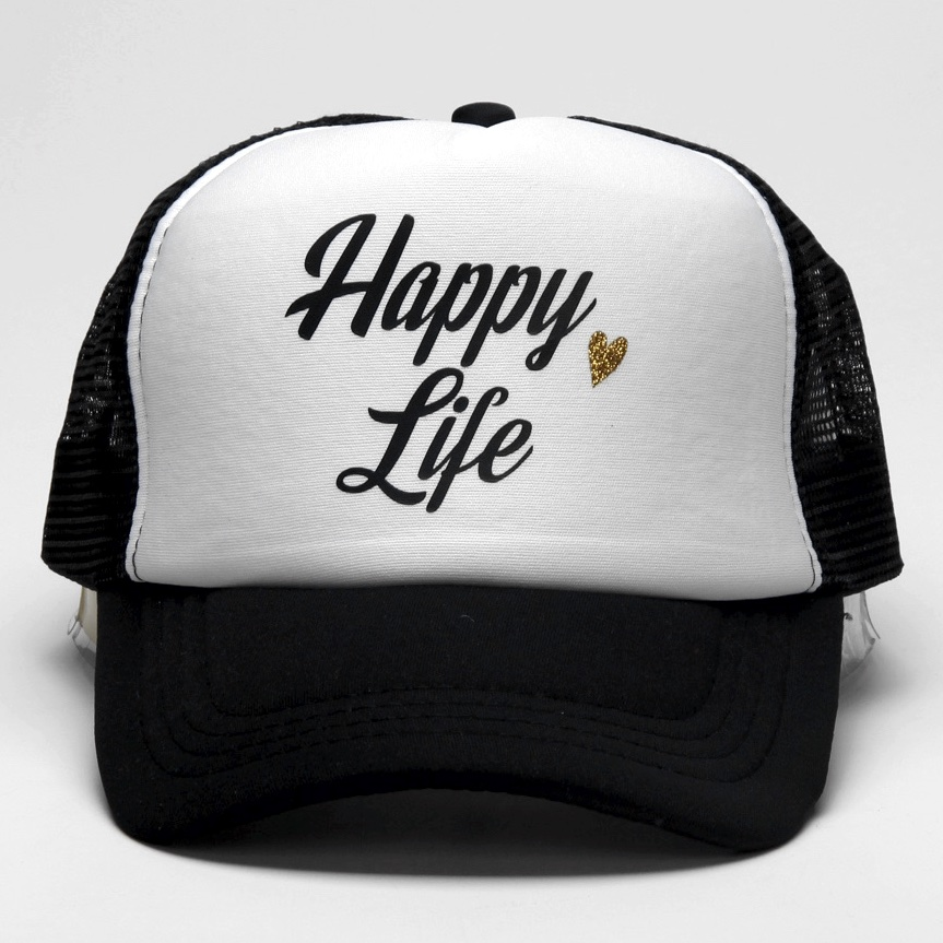 af566caed85 DongKing New Fashion Trucker Hat Happy Wife Letter Print Cap Happy Life Mesh  Top Quality Cap Love Romantic Gift Idea for Couples-in Baseball Caps from  ...