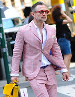 Розовых рубашек в клеточку на двух пуговицах, Для мужчин костюмы жениха лацкан с тупым углом; Slim Fit Мужской мундир для свадьбы модная ткань д