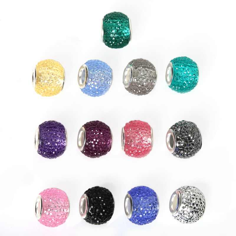 Nova Moda 10X12mm 10 Pcs Gypsophila Resina Big Hole Beads Charme Fit Para Pulseira Europeu Jóias DIY ofício