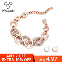 Viennois Circles Bracelet for Woman Rose Gold Rhinestones Paved Double Layer Round Female Bangle(China)