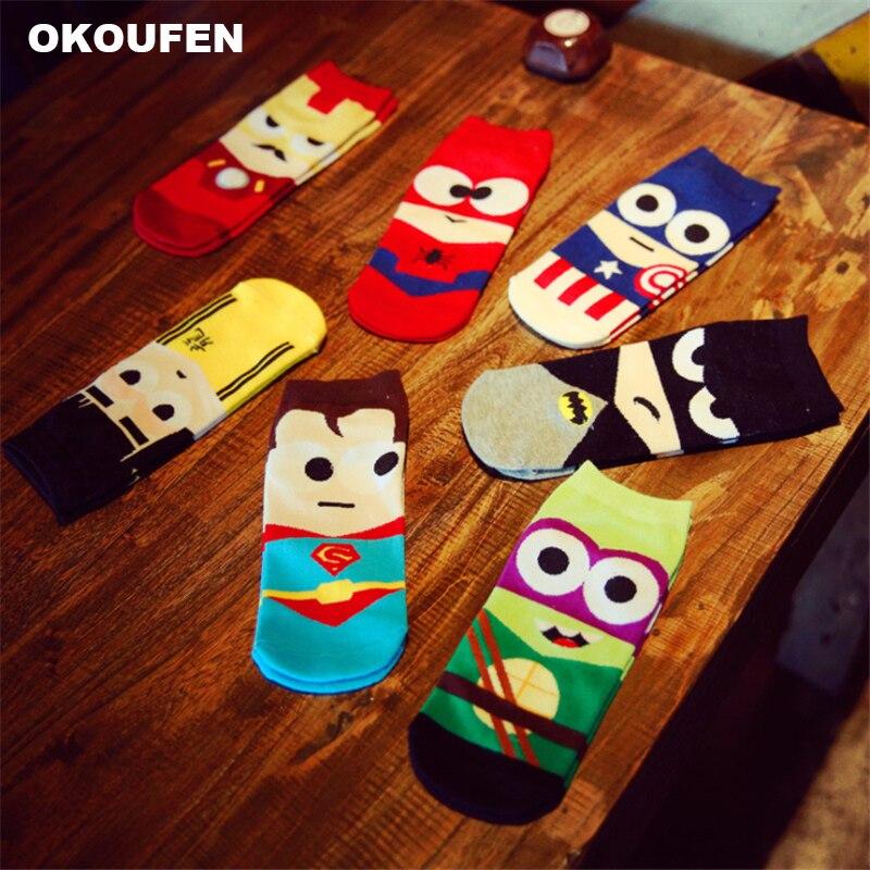 OKOUFEN 2018 Summer Men Socks Cartoon Funny Harajuku Ninja Batman Superman SpiderMan Captain America Avengers Cotton Short Sock