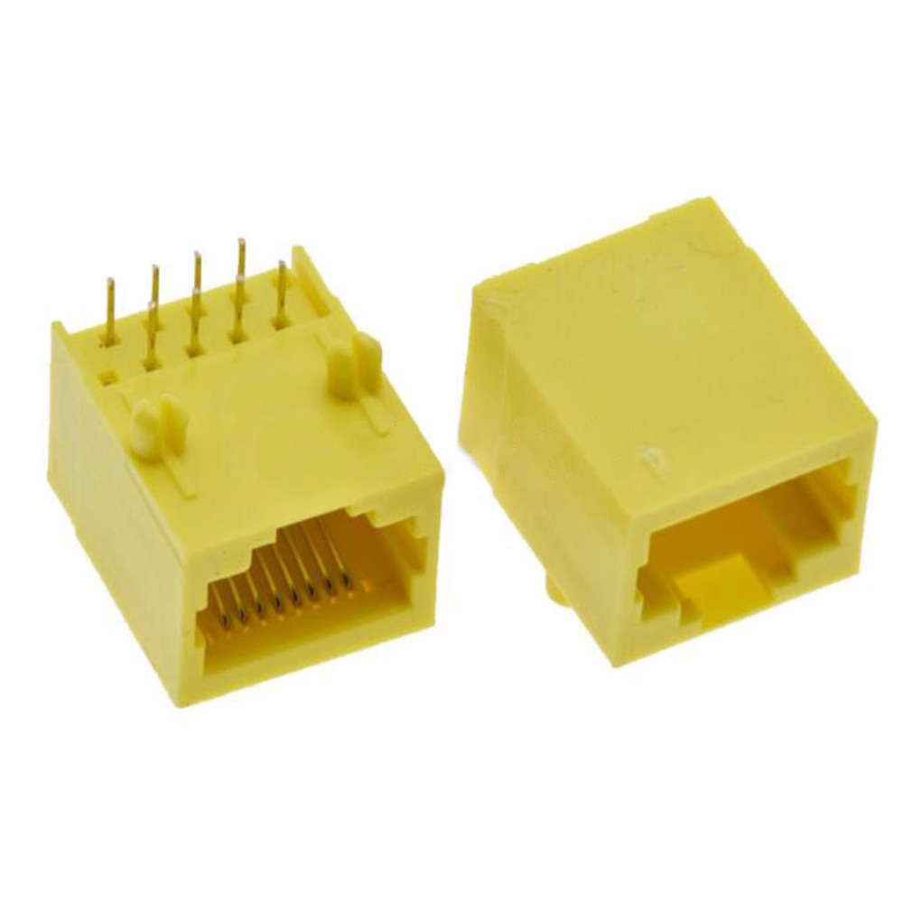 10pcs 30pcs 100pcs Network Outlet RJ45 Jack Interface Network Socket 5621-8P8C Yellow All Plastic
