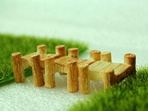 3pcs Mini Wooden Bridge Yellow Fairy Garden Ornament Decoration Micro  Landscape Resin Bonsai Figurines Mini Garden