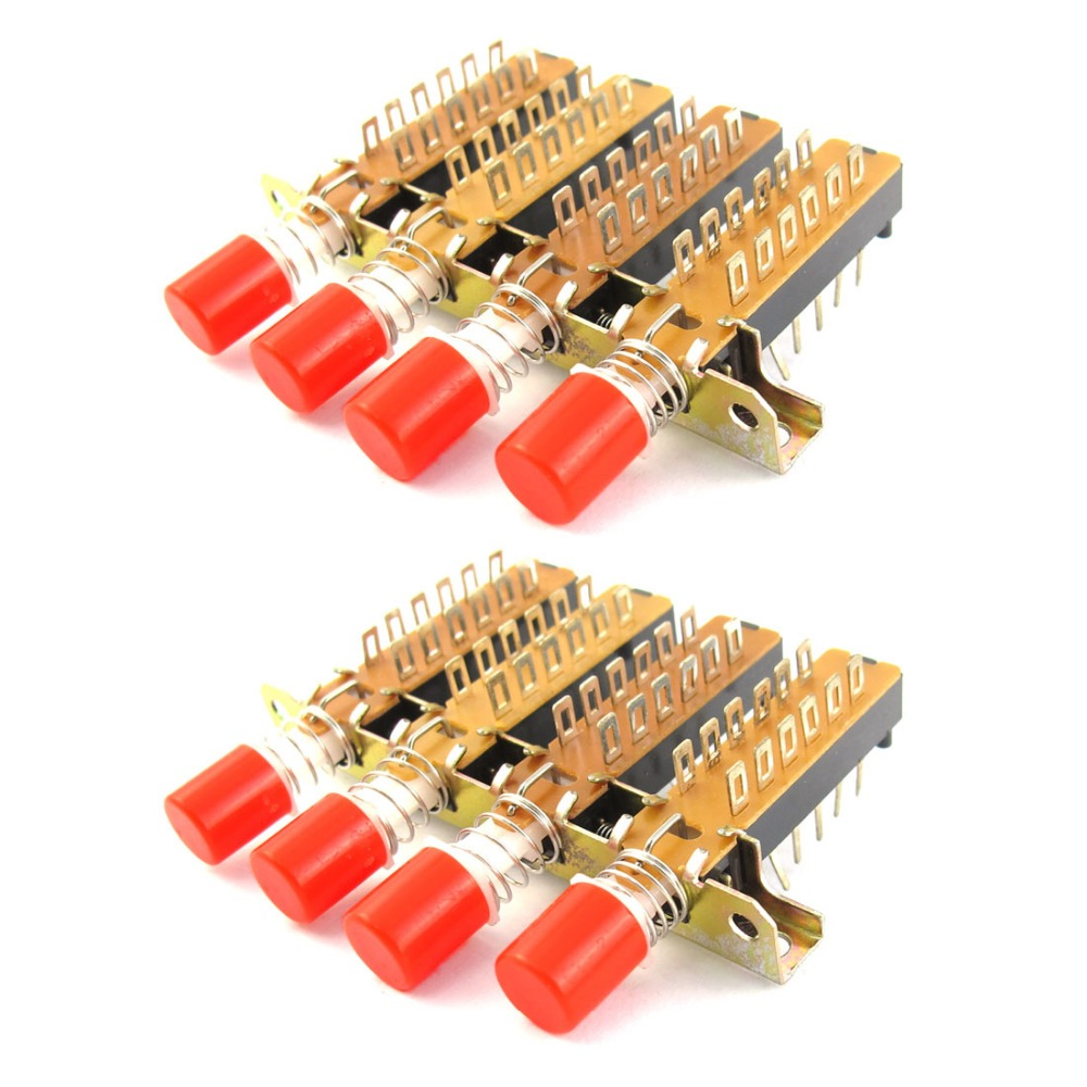 2 Pcs AC 220V 3A Kitchen Hood 4P2T 4 Rows Interlock Plastic Round Push Button Fan Piano Type Keyboard Switch image