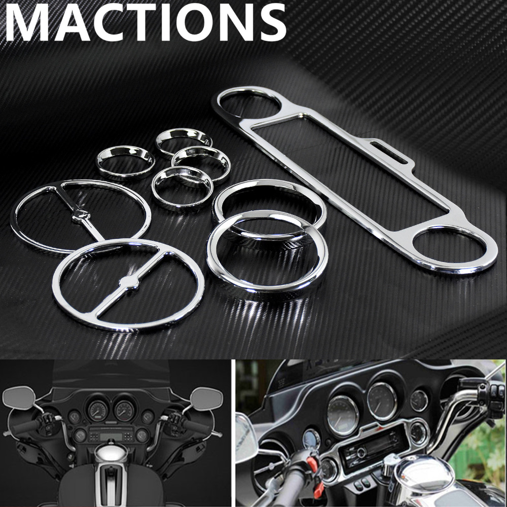 Motorcycle Stereo Accent Speedometer Speaker Trim Ring Set Chrome For Harley Touring Electra Street Glide 1996