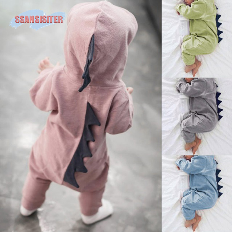 Baby Boys Girls 3D Dinosaur Hooded   Rompers   Warm Spring Autumn Cotton Cartoon Hoddies   Romper   Playsuit Clothes Kids Costume