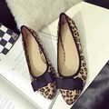 Sexy Leopard Print Pointed Toe Women's Low Heel Pumps Shoes Spring Autumn Flock Bowtie Slip On Woman Single Shoes Zapatos Mujer