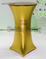Bronzing Coated Lycra Spandex Cocktail Table Cover \ Bistro Table Cloth