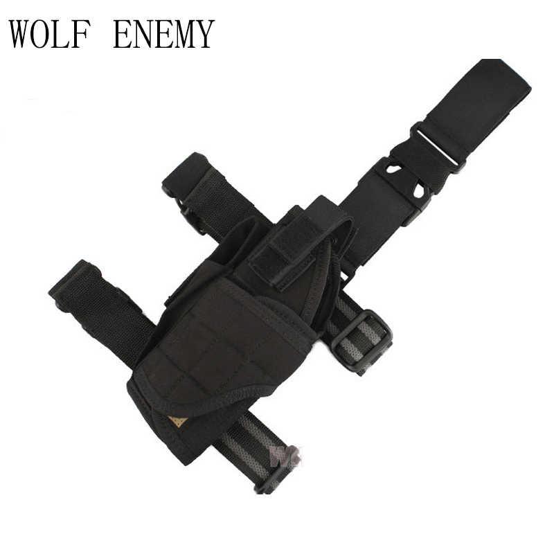 Airsoft Tactical Tornado uniwersalny pistolet nóżka stojak kabura na lewą rękę wojskowy kabura udowa kabura czarny