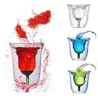 Double Wall 6oz Rose Transparent Glass Wine Coffee Mug Glassware