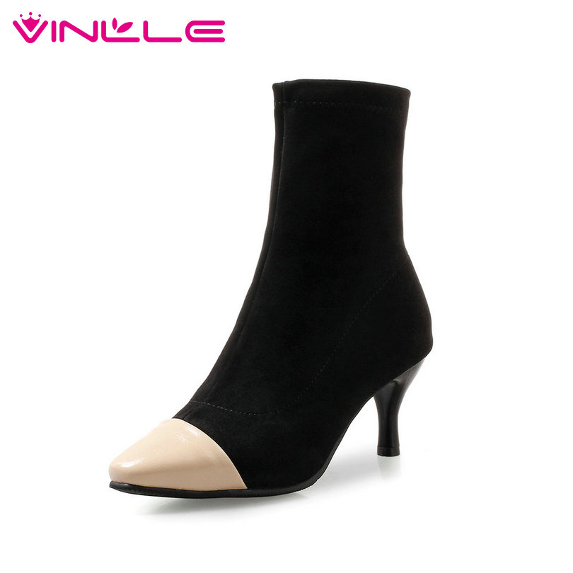 VINLLE 2019 Winter Shoes Women Mid Calf Boots Sock Boots
