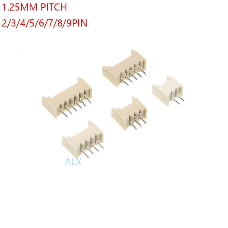 20 шт., штырьковый разъем MICRO JST 1,25 мм, 2P/3P/4P/5P/6P/7P/8P/9P/10P/11P/12 прямая игла для печатной платы 1,25